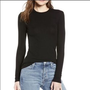 Reformation Parker Davy Ribbed Long Sleeve Top
